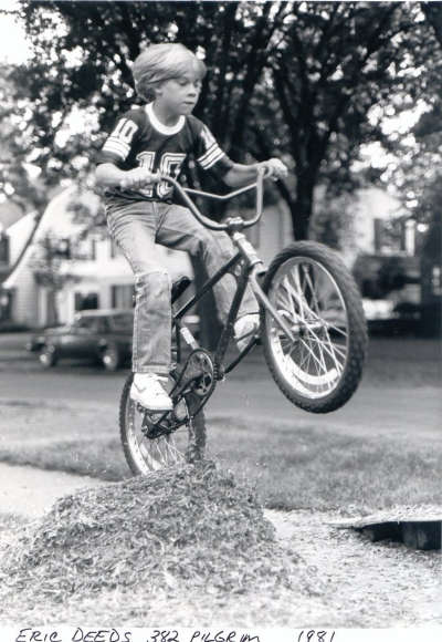 Eric jumping his bike 1981